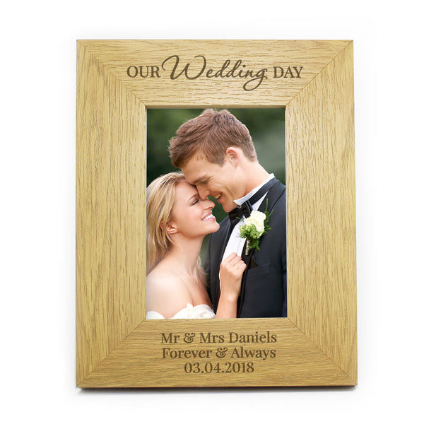 Personalised Our Wedding Day Oak Finish 6x4 Photo Frame white background
