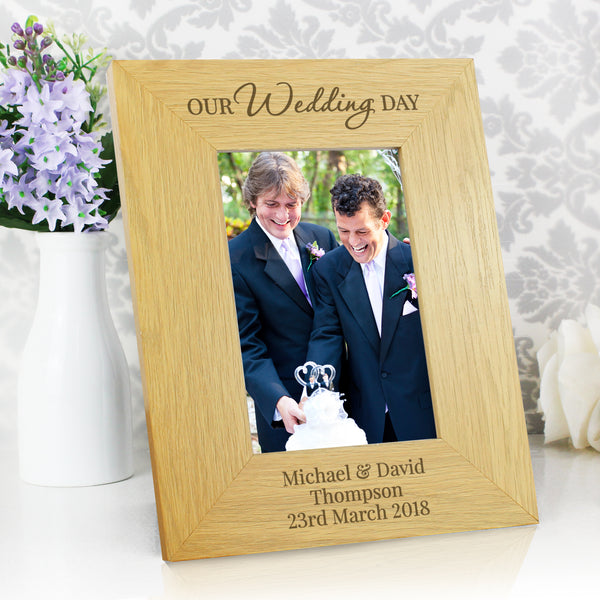 Personalised Our Wedding Day Oak Finish 6x4 Photo Frame from Sassy Bloom Gifts - alternative view