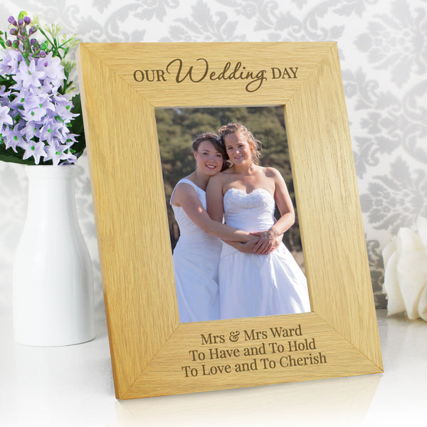 Personalised Our Wedding Day Oak Finish 6x4 Photo Frame lifestyle image