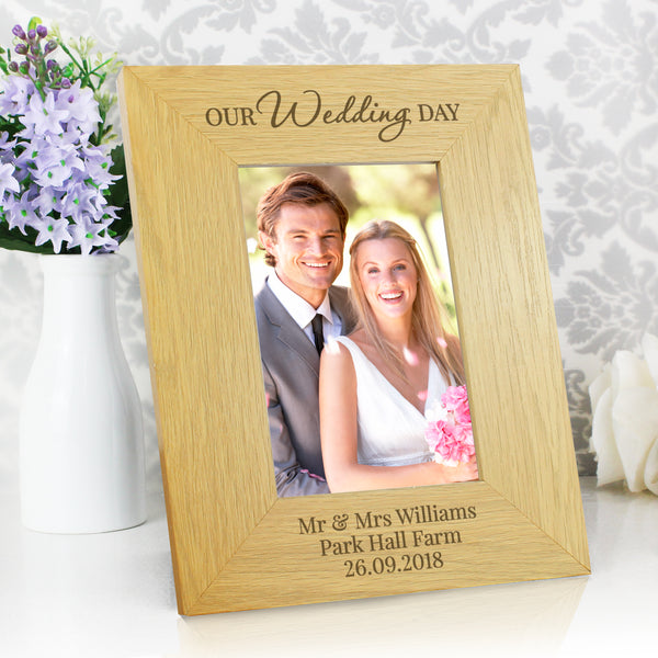 Personalised Our Wedding Day Oak Finish 6x4 Photo Frame