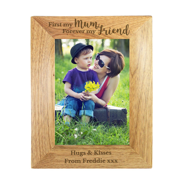 Personalised First My Mum Forever My Friend 5x7 Wooden Photo Frame white background