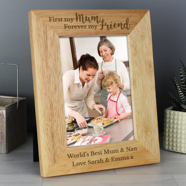 Personalised First My Mum Forever My Friend 5x7 Wooden Photo Frame from Sassy Bloom Gifts - alternative view