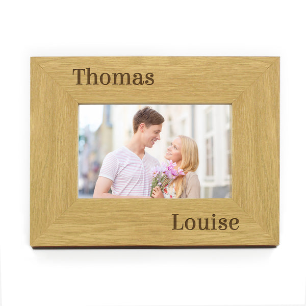 Personalised Oak Finish 6x4 Couples Photo Frame white background