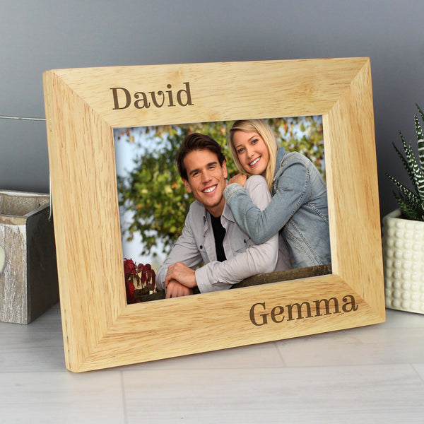 Personalised Oak Finish 6x4 Couples Photo Frame from Sassy Bloom Gifts - alternative view