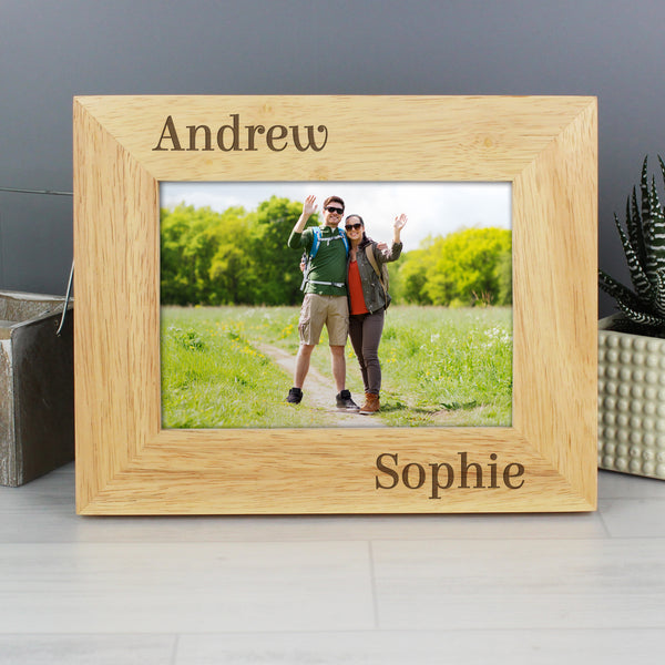 Personalised Oak Finish 6x4 Couples Photo Frame lifestyle image