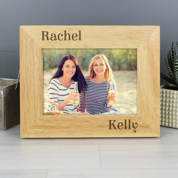 Personalised Oak Finish 6x4 Couples Photo Frame with personalised name