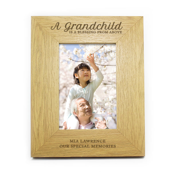 Personalised Oak Finish 6x4 A Grandchild is a Blessing Photo Frame white background