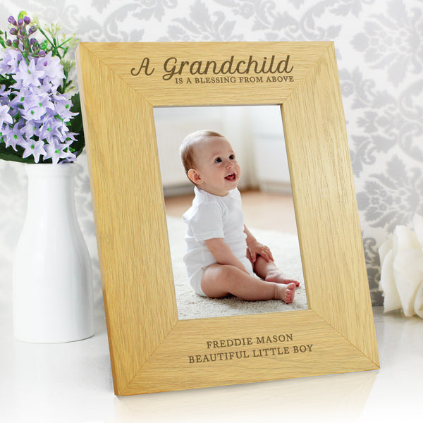 Personalised Oak Finish 6x4 A Grandchild is a Blessing Photo Frame lifestyle image
