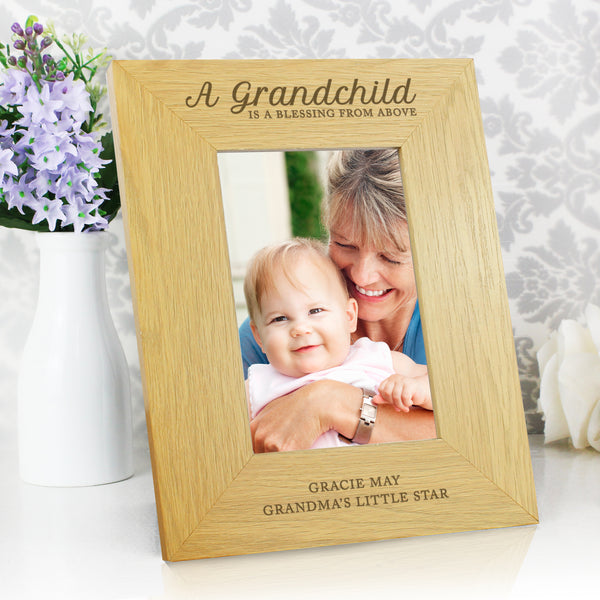 Personalised Oak Finish 6x4 A Grandchild is a Blessing Photo Frame with personalised name