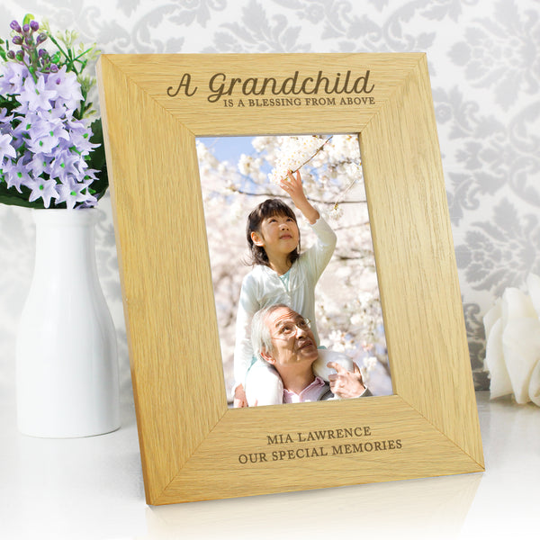Personalised Oak Finish 6x4 A Grandchild is a Blessing Photo Frame