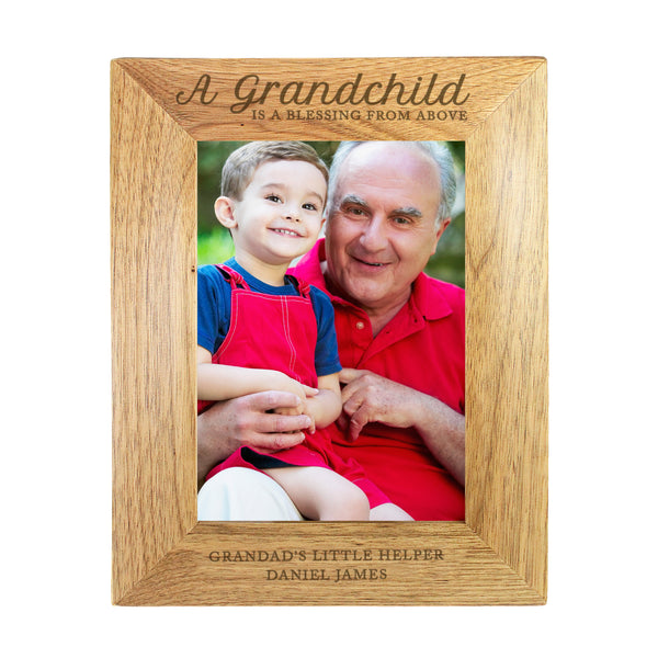 Personalised 'A Grandchild is a Blessing' 5x7 Wooden Photo Frame white background