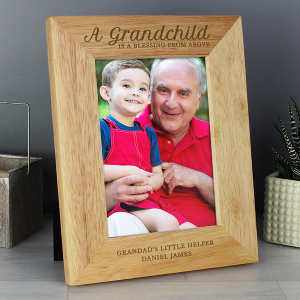 Personalised 'A Grandchild is a Blessing' 5x7 Wooden Photo Frame from Sassy Bloom Gifts - alternative view