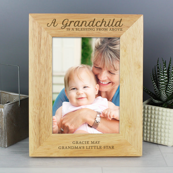 Personalised 'A Grandchild is a Blessing' 5x7 Wooden Photo Frame lifestyle image