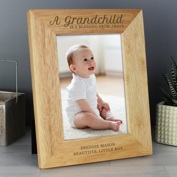 Personalised 'A Grandchild is a Blessing' 5x7 Wooden Photo Frame with personalised name