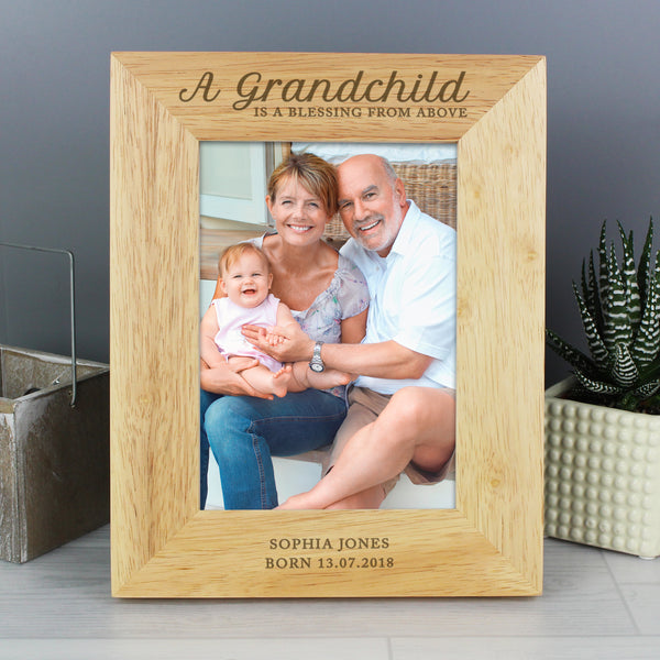 Personalised 'A Grandchild is a Blessing' 5x7 Wooden Photo Frame