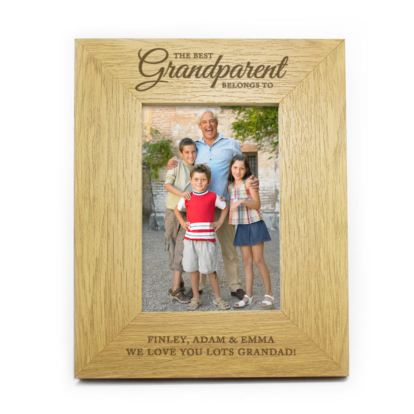 Personalised Oak Finish The Best Grandparent 6x4 Photo Frame white background