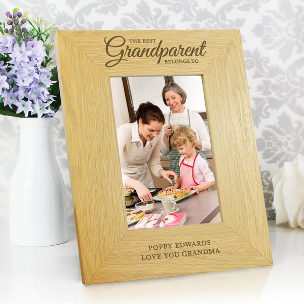 Personalised Oak Finish The Best Grandparent 6x4 Photo Frame with personalised name