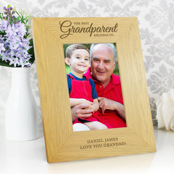 Personalised Oak Finish The Best Grandparent 6x4 Photo Frame