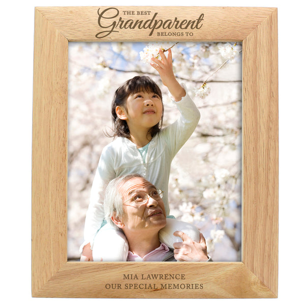 Personalised 'The Best Grandparent' 10x8 Wooden Photo Frame white background