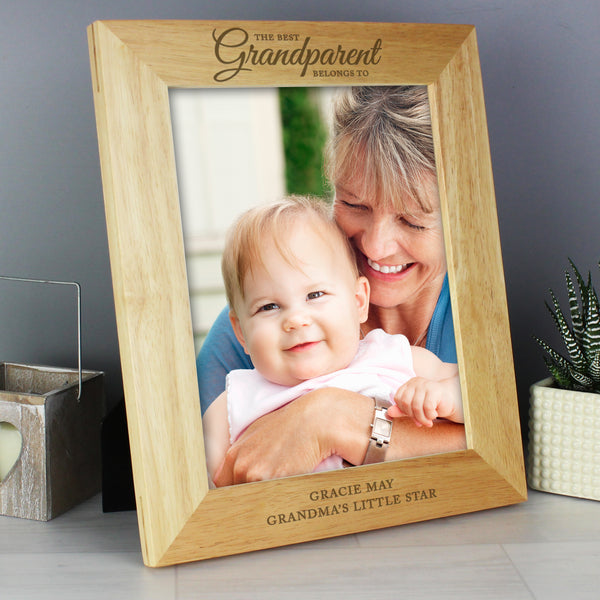 Personalised 'The Best Grandparent' 10x8 Wooden Photo Frame lifestyle image