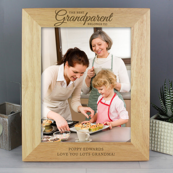 Personalised 'The Best Grandparent' 10x8 Wooden Photo Frame with personalised name