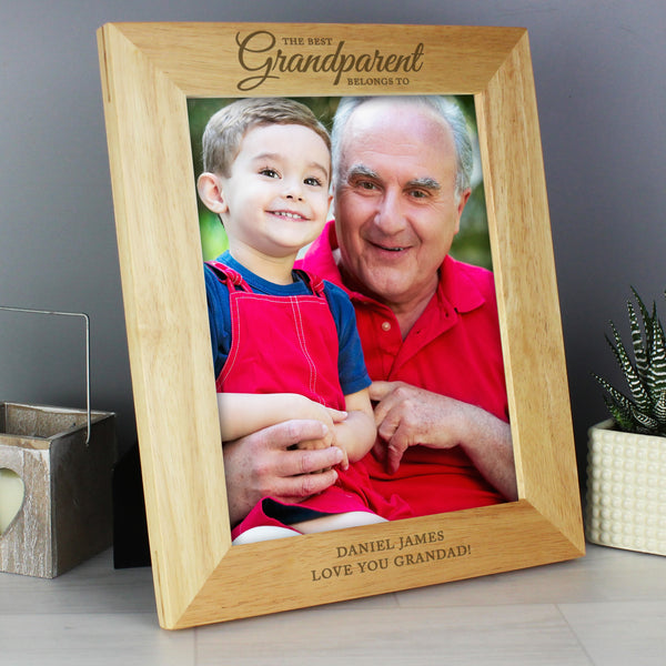 Personalised 'The Best Grandparent' 10x8 Wooden Photo Frame