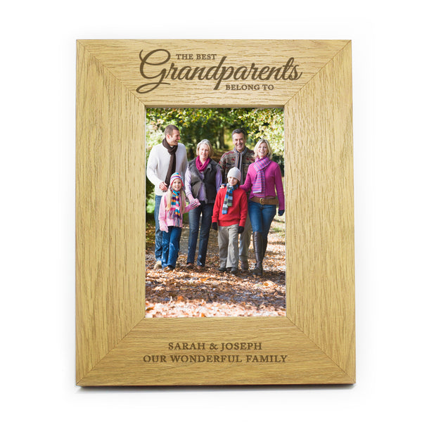 Personalised Oak Finish The Best Grandparents 6x4 Photo Frame white background