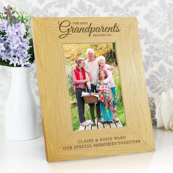 Personalised Oak Finish The Best Grandparents 6x4 Photo Frame from Sassy Bloom Gifts - alternative view
