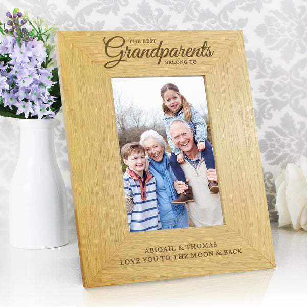 Personalised Oak Finish The Best Grandparents 6x4 Photo Frame lifestyle image