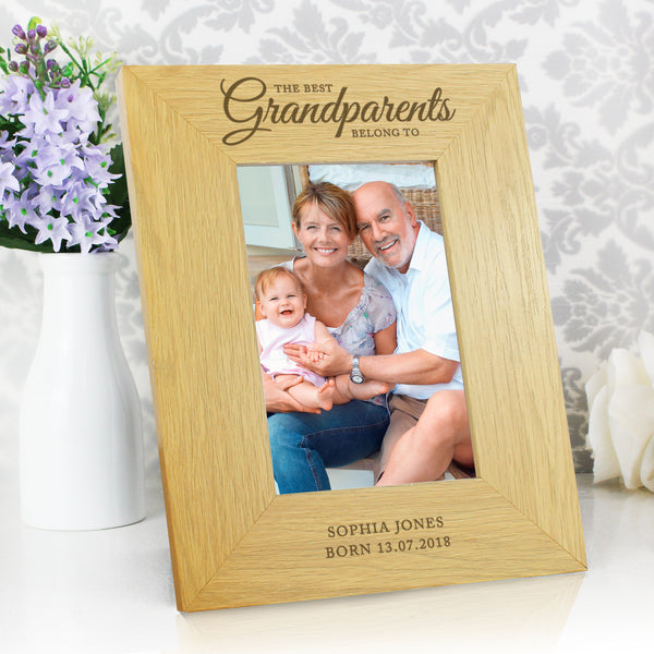 Personalised Oak Finish The Best Grandparents 6x4 Photo Frame with personalised name