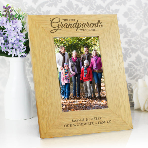 Personalised Oak Finish The Best Grandparents 6x4 Photo Frame