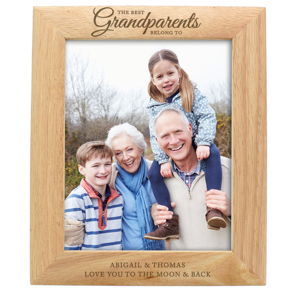 Personalised 'The Best Grandparents' 10x8 Wooden Photo Frame white background