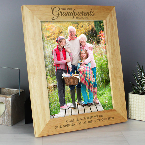 Personalised 'The Best Grandparents' 10x8 Wooden Photo Frame lifestyle image