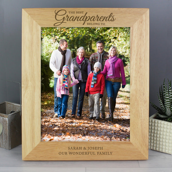 Personalised 'The Best Grandparents' 10x8 Wooden Photo Frame with personalised name