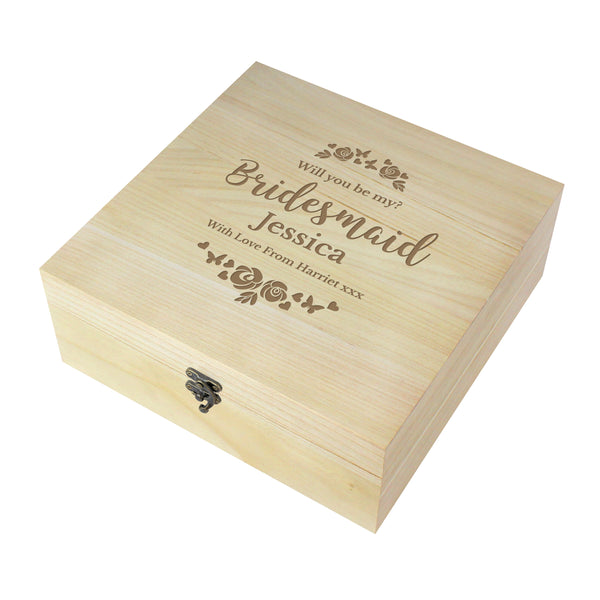 Personalised Bridesmaid 'Floral Watercolour Wedding' Large Wooden Keepsake Box white background