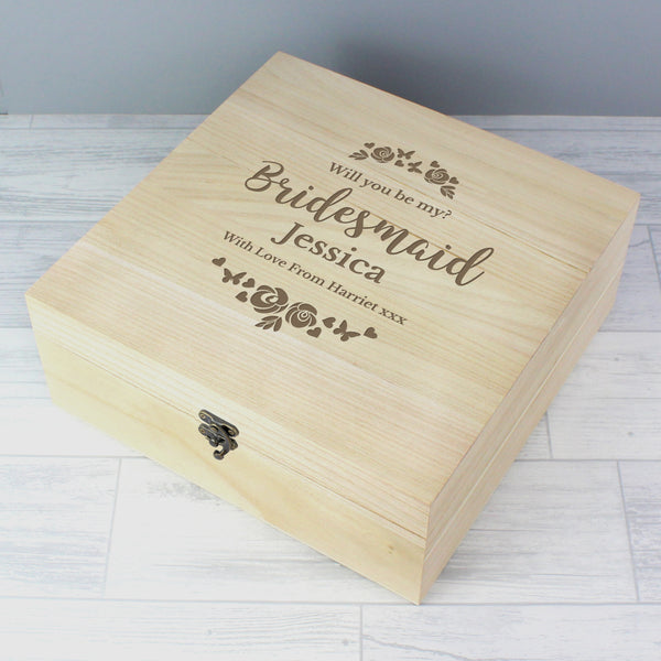 Personalised Bridesmaid 'Floral Watercolour Wedding' Large Wooden Keepsake Box from Sassy Bloom Gifts - alternative view