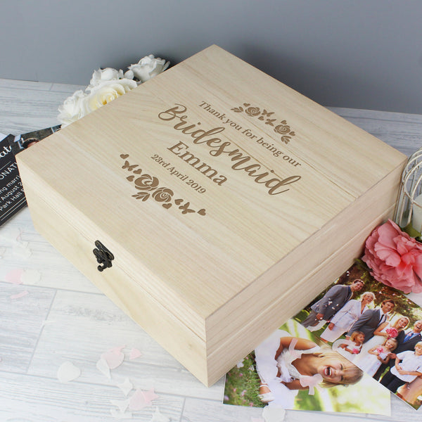 Personalised Bridesmaid 'Floral Watercolour Wedding' Large Wooden Keepsake Box with personalised name