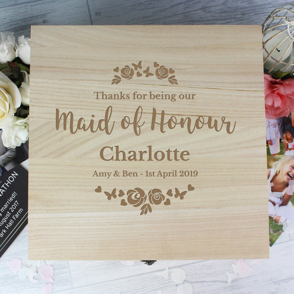 Personalised Any Role 'Floral Watercolour Wedding' Large Wooden Keepsake Box from Sassy Bloom Gifts - alternative view