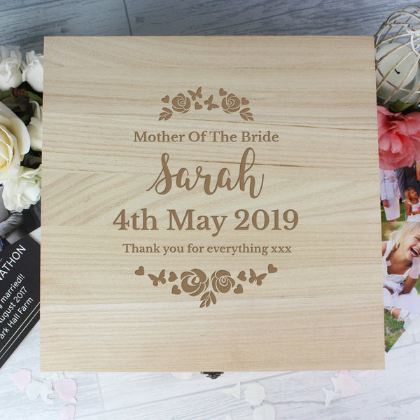 Personalised Any Role 'Floral Watercolour Wedding' Large Wooden Keepsake Box with personalised name