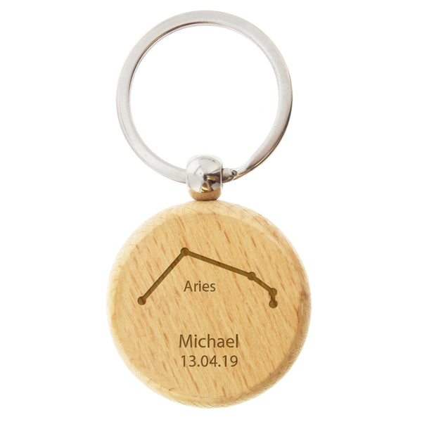 Personalised Aries Zodiac Star Sign Wooden Keyring (March 21st-April 19th) white background