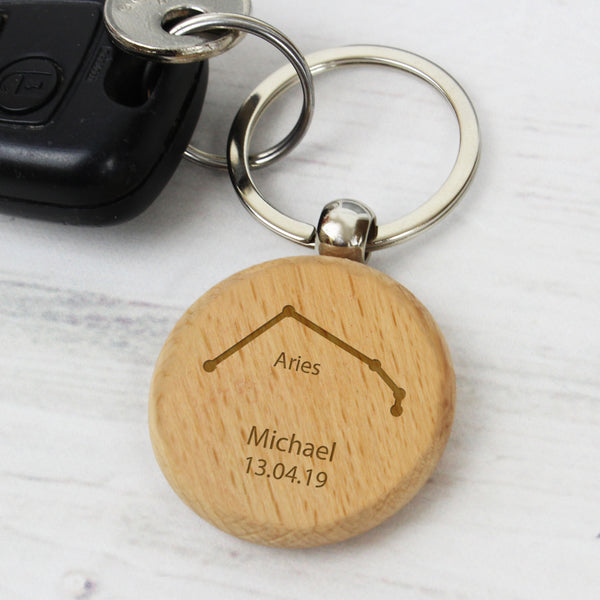 Personalised Aries Zodiac Star Sign Wooden Keyring (March 21st-April 19th)