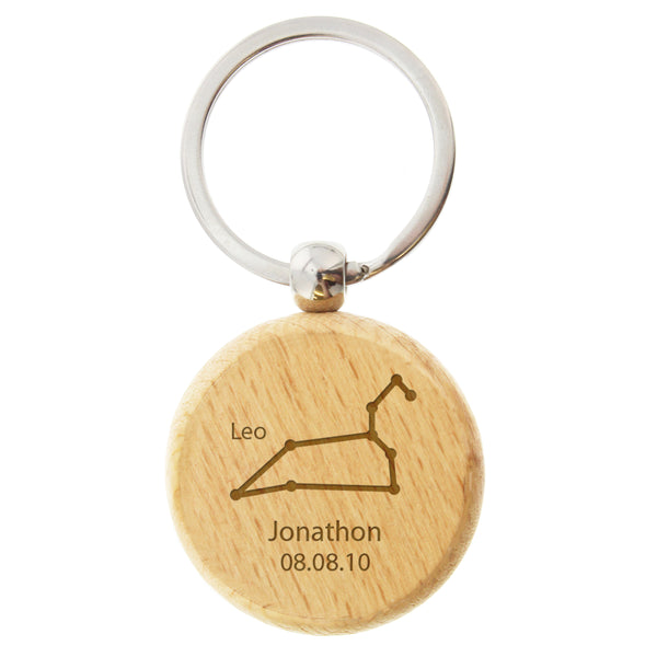 Personalised Leo Zodiac Star Sign Wooden Keyring (July 23rd - August 22nd) white background