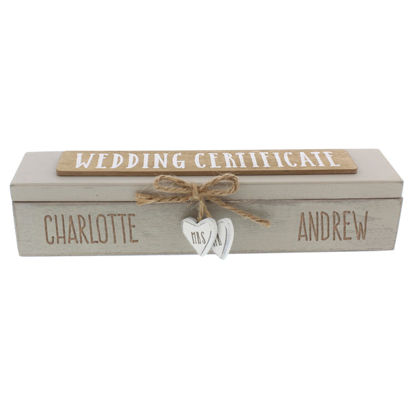 Personalised Wooden Wedding Certificate Holder white background