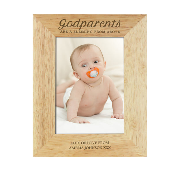 Personalised Godparents 5x7 Wooden Photo Frame white background
