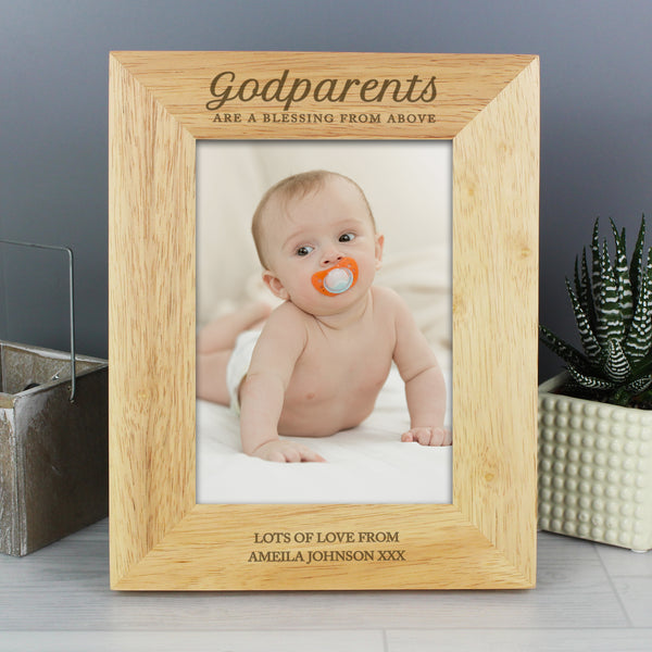 Personalised Godparents 5x7 Wooden Photo Frame from Sassy Bloom Gifts - alternative view