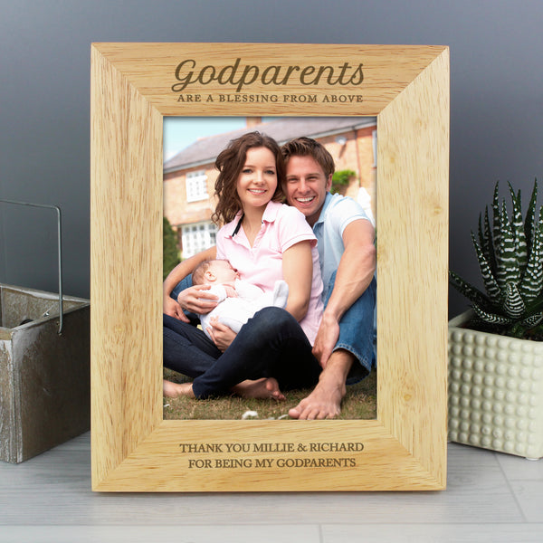 Personalised Godparents 5x7 Wooden Photo Frame with personalised name