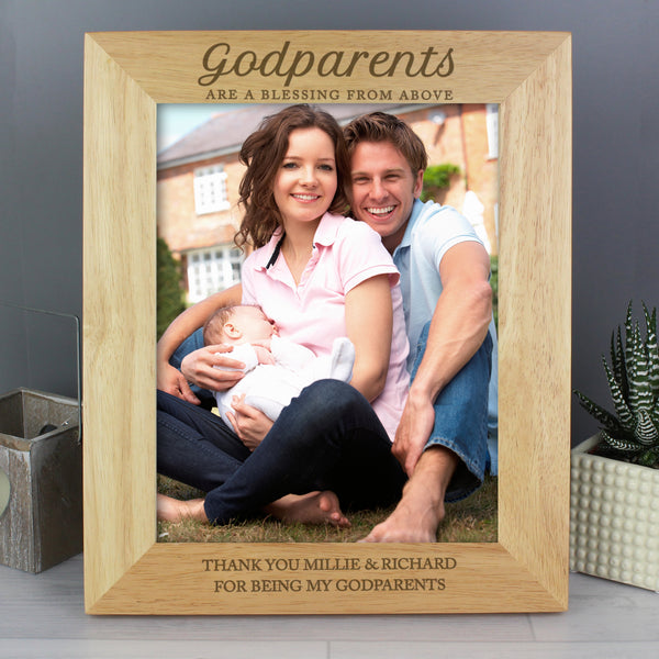 Personalised Godparents Wooden 10x8 Photo Frame