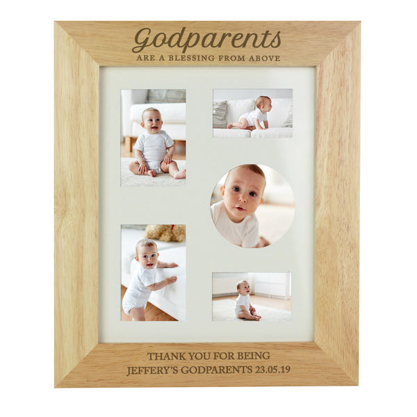 Personalised Godparents Wooden 10x8 Photo Frame white background
