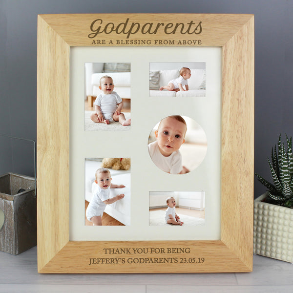 Personalised Godparents Wooden 10x8 Photo Frame with personalised name
