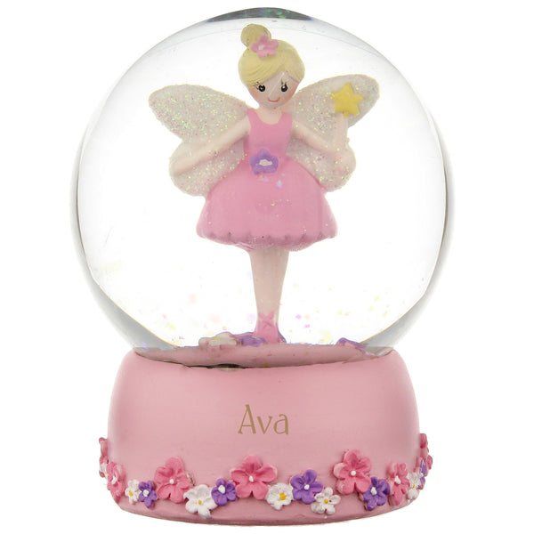 Personalised Fairy Any Name Glitter Snow Globe with personalised name